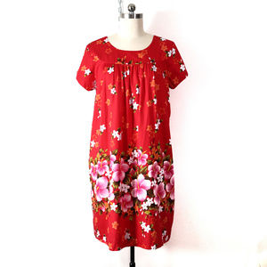 vintage hawaiian floral shift dress L/XL retro